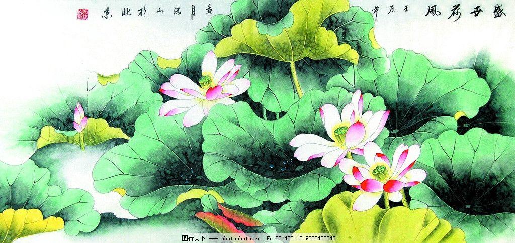 盛世荷风 美术 中国画 工笔画 花卉画 荷花 荷花画 国画艺术
