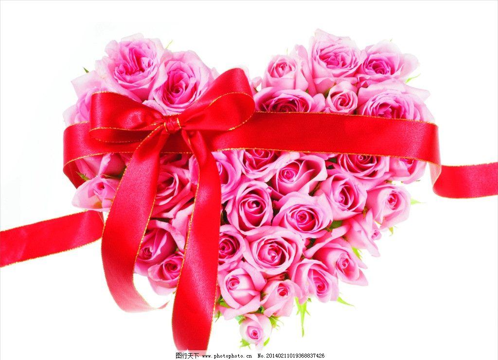 粉色玫瑰花 蝴蝶结 彩带 桃心 红色 情人节 节日素材 矢量 cdr