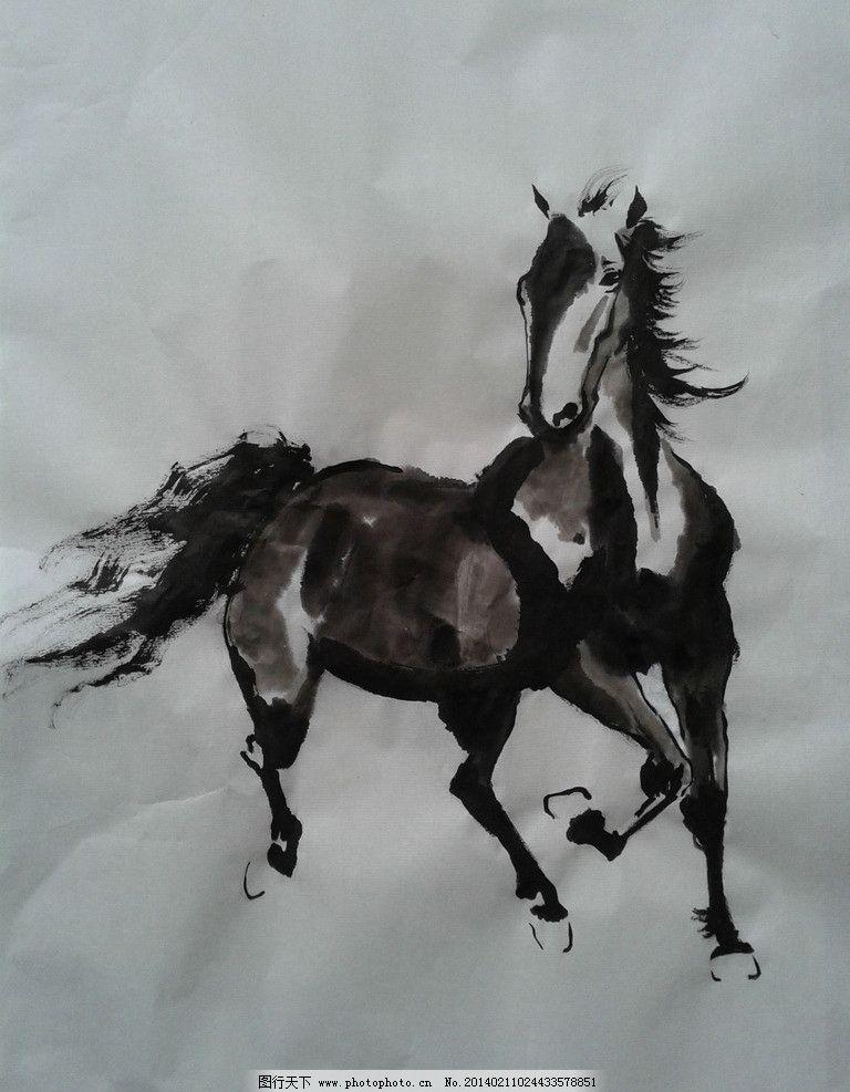 奔马图 国画 写意 马 业胜 画 野生动物 生物世界 设计 72dpi jpg