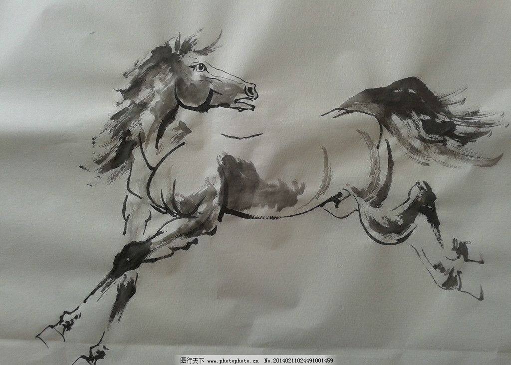 奔马图 业胜 国画 写意 马 画 野生动物 生物世界 设计 72dpi jpg