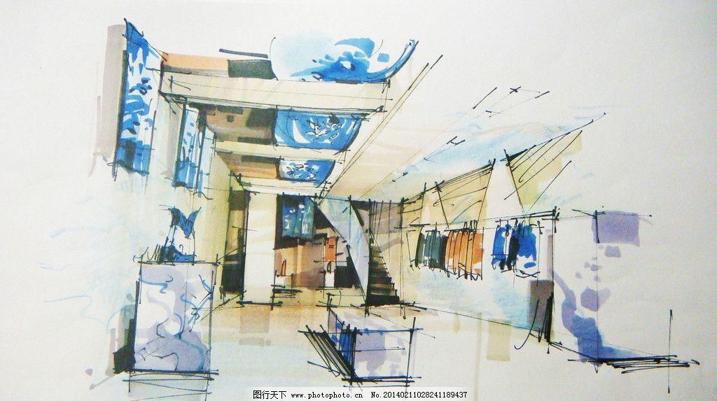 中式展厅手绘 展厅 马克笔