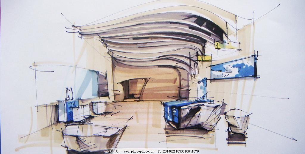 中式创意展厅手绘 环境设计 马克笔 展览 展览设计 展示 中式创意展厅