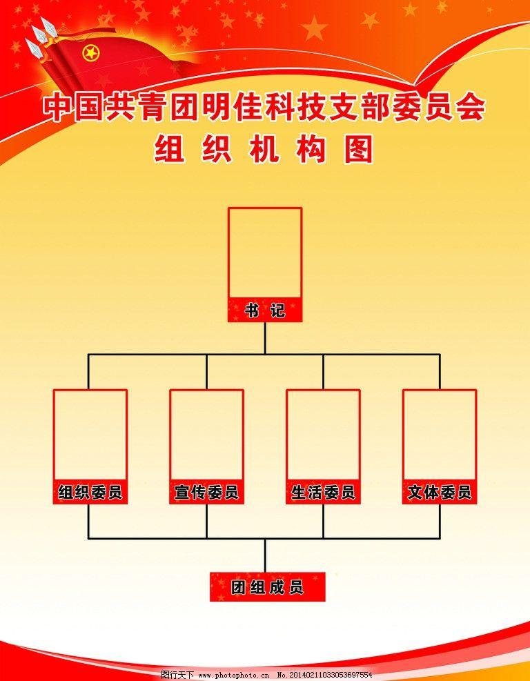 团委结构图 共青团 红色 背景 非公企业 构架图 源文件