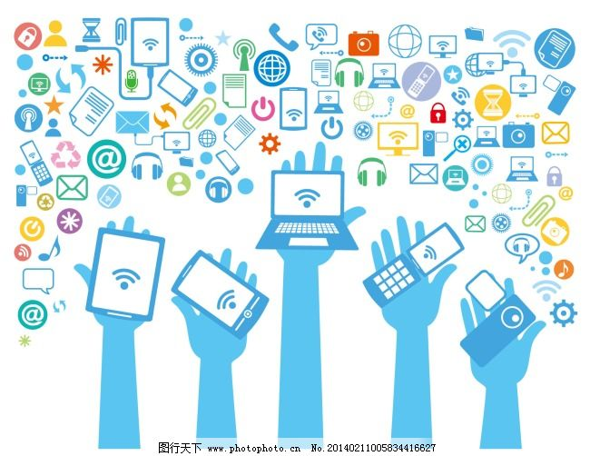 科技 手机 网络 科技 插画 网络 手机 电脑 按件 矢量图 现代科技