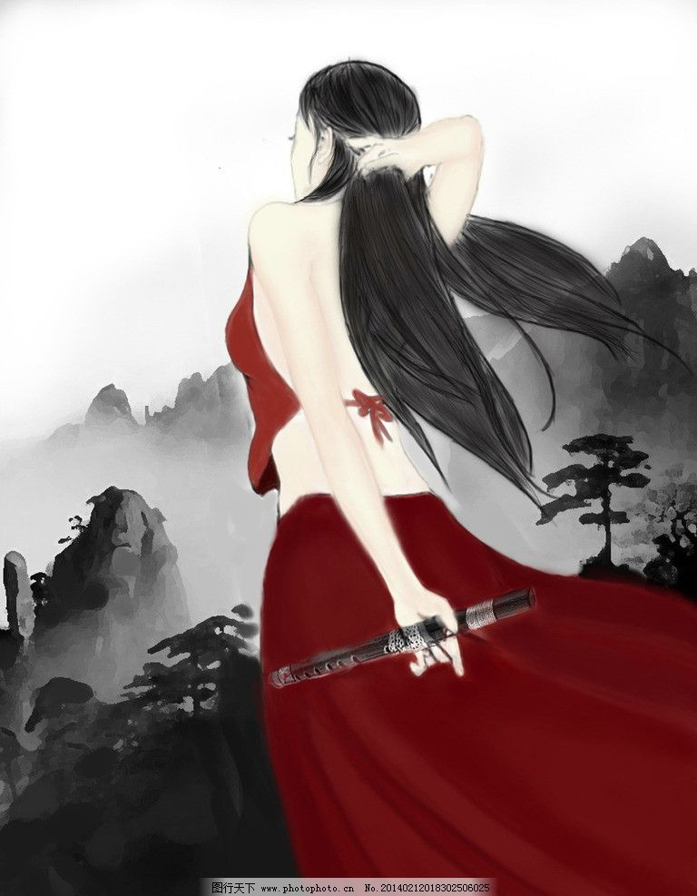古代女子 古装 古风 古代美女 水墨 动漫动画