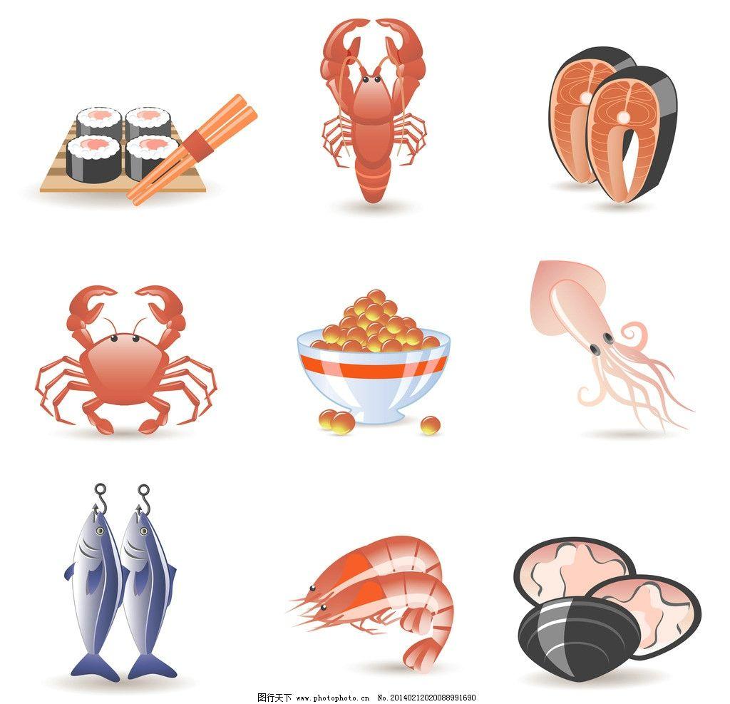 海鲜 鱼 螃蟹 餐饮 手绘 线条 餐饮图标 图标 装饰 设计 餐饮美食图片