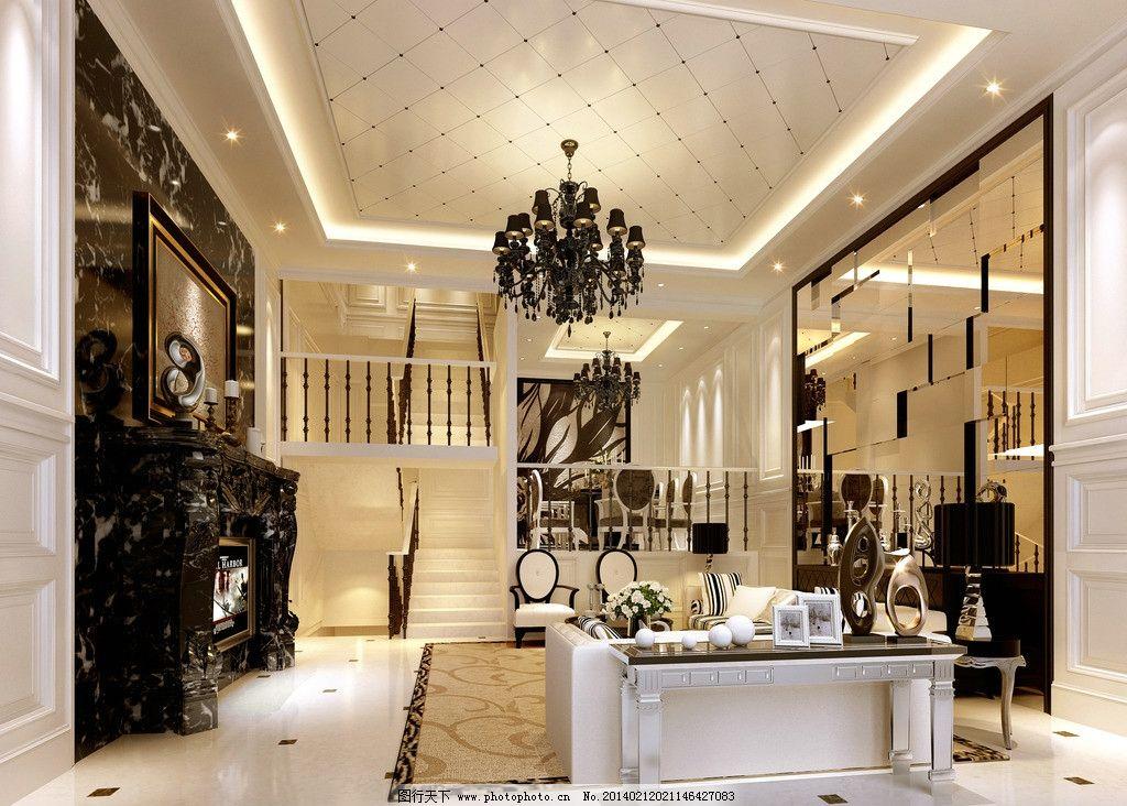 客厅 家装效果图 茶镜 艺术吊灯 地砖拼花 大理石背景 壁炉 欧式
