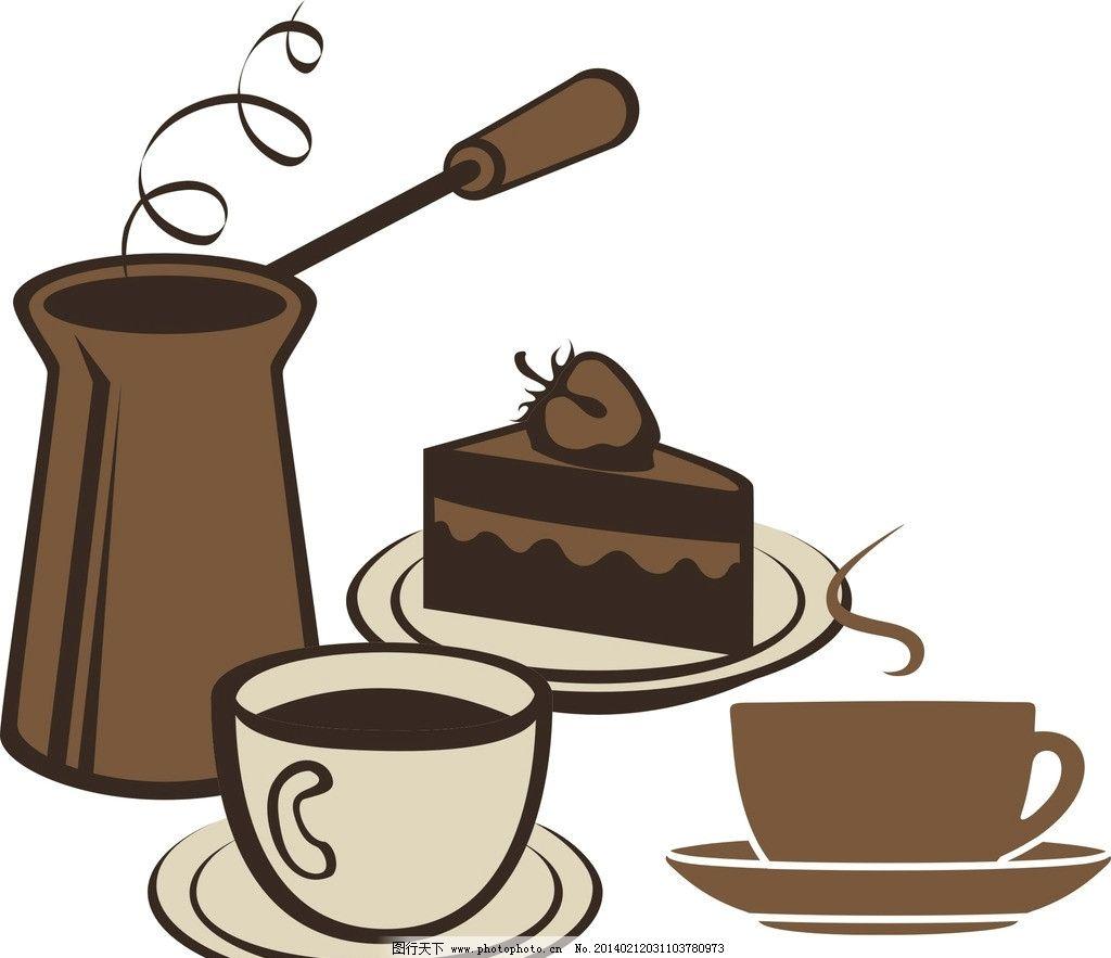 咖啡 西餐 蛋糕 巧克力蛋糕 奶油蛋糕 矢量 可爱 卡通 甜品 食物 甜点