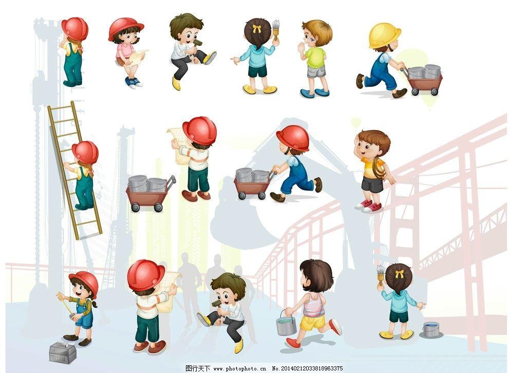 木梯 油漆桶 刷油漆 勤劳的小工人 建筑背景图 挖掘机 矢量素材 其他