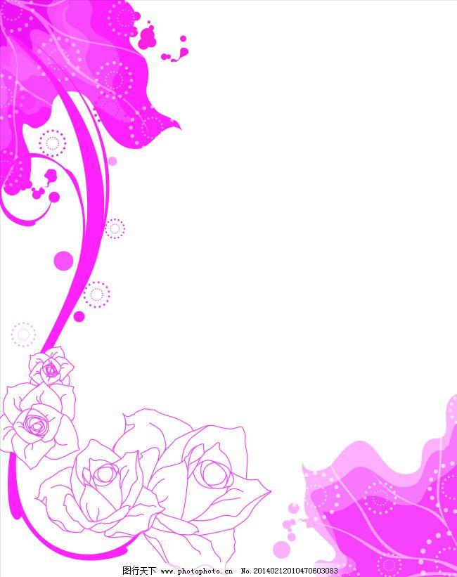 手绘粉色线条玫瑰移门图片