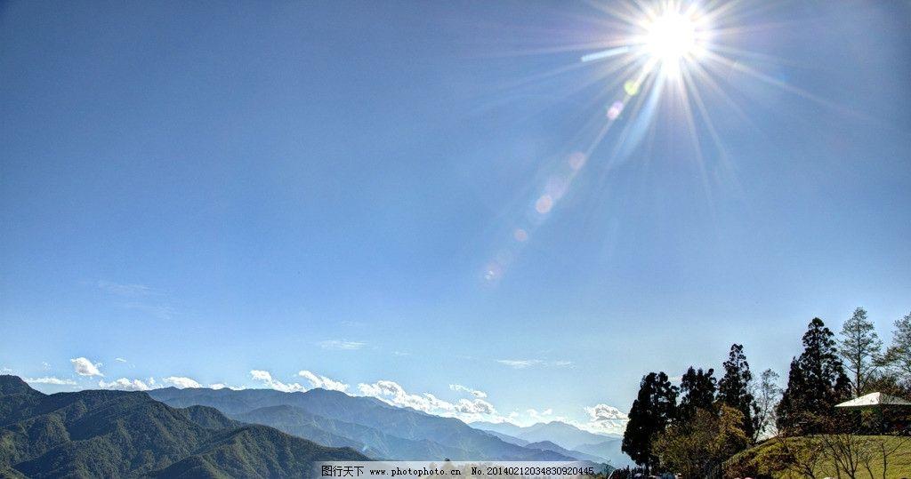 天空 蓝天 白云 阳光 太阳 山峰 自然 大自然 摄影