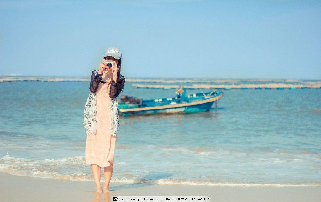 海边的女生 海滩 沙滩