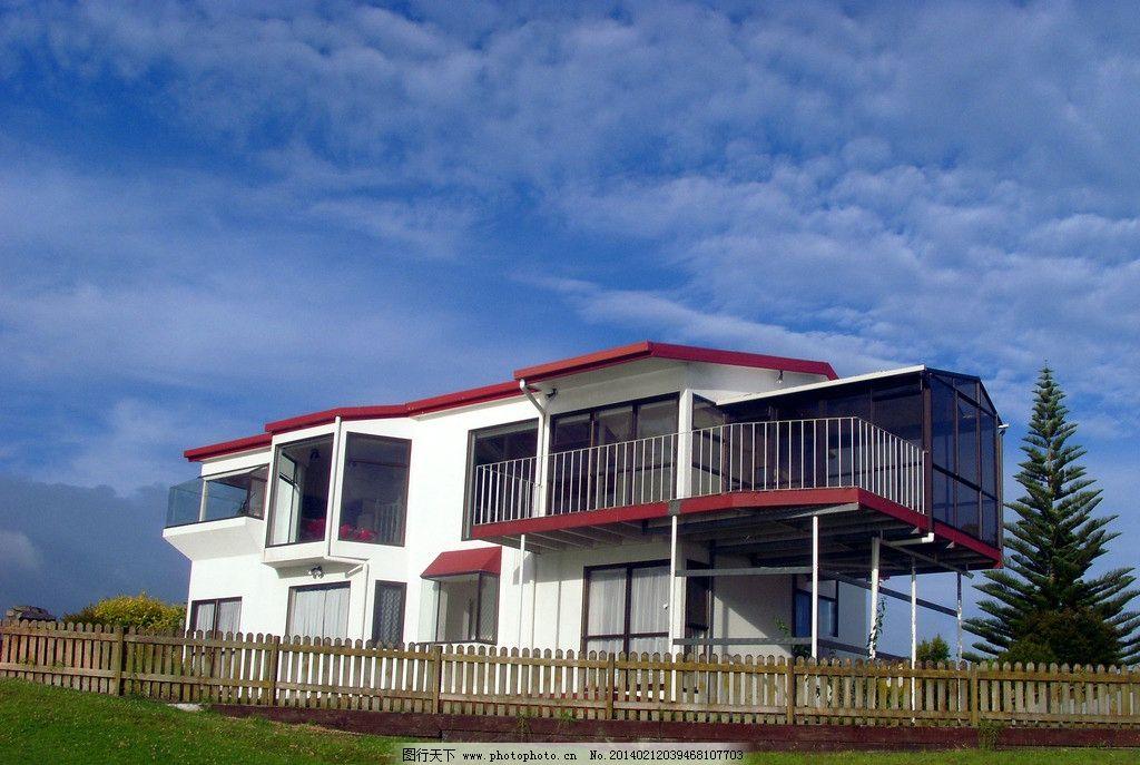 新西蘭風景 藍天 白云 綠地 綠樹 建筑 別墅 閣樓 圍欄 建筑攝影