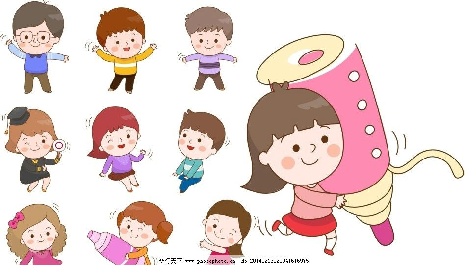 小朋友 小孩 幼儿园 立体化 展板 男孩 女孩 矢量 卡通 卡通画 小学生