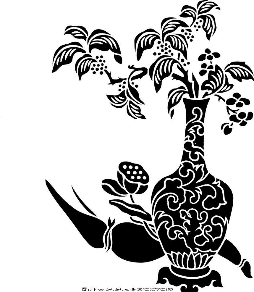 矢量花瓶莲藕花卉纹样图片