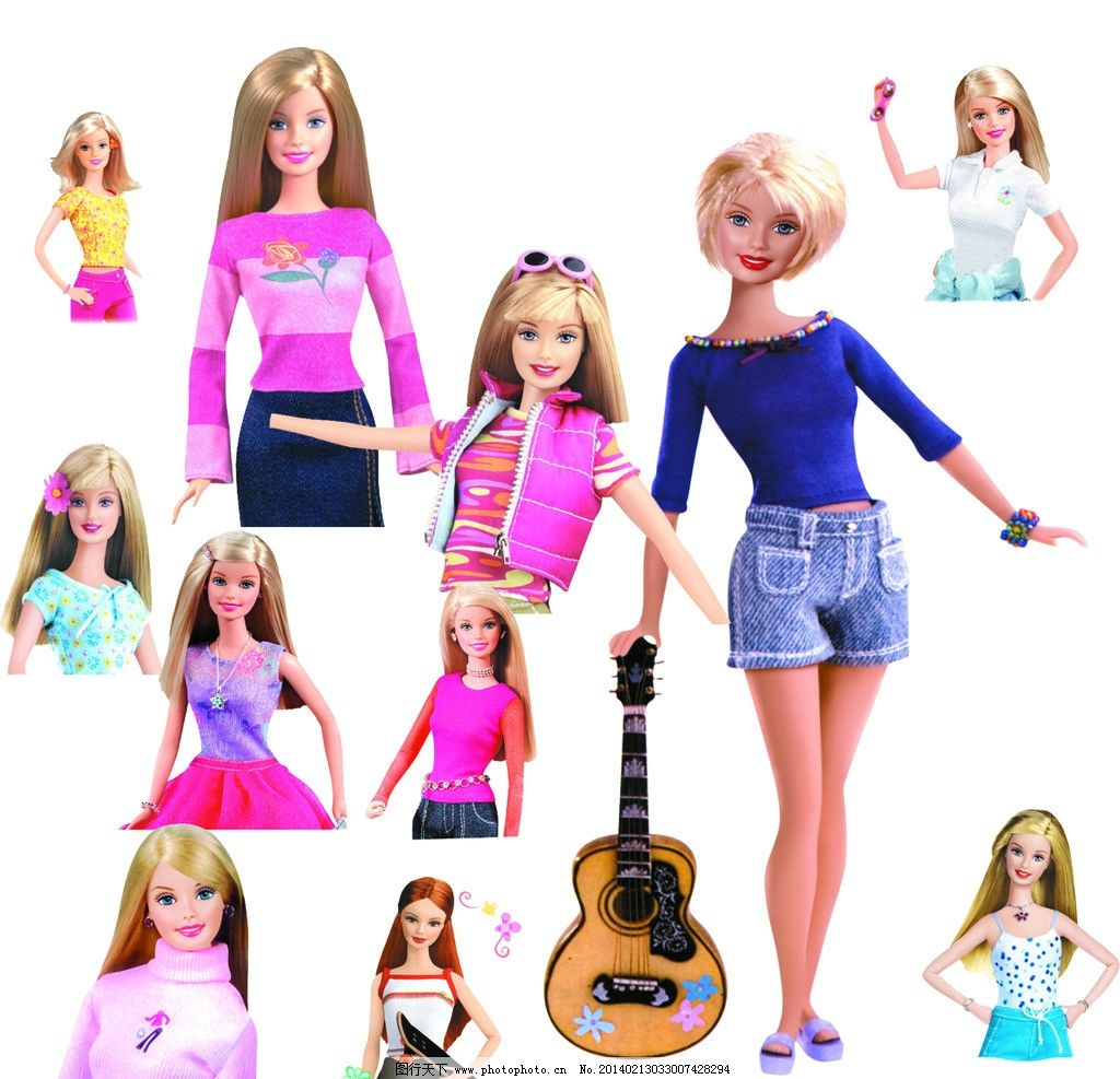 芭比娃娃 大集合 卡通芭比娃娃 娃娃 可爱芭比娃娃设计 可爱 拼贴
