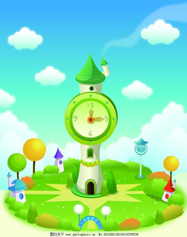卡通夢幻城堡移門圖 白云 風景 藍天 清新 時鐘 煙囪 時鐘寶塔