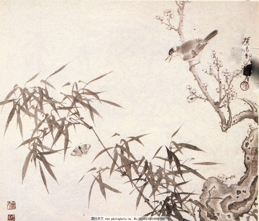 梅竹白头 中国画 花鸟 水墨 梅花 竹子 白头鸟