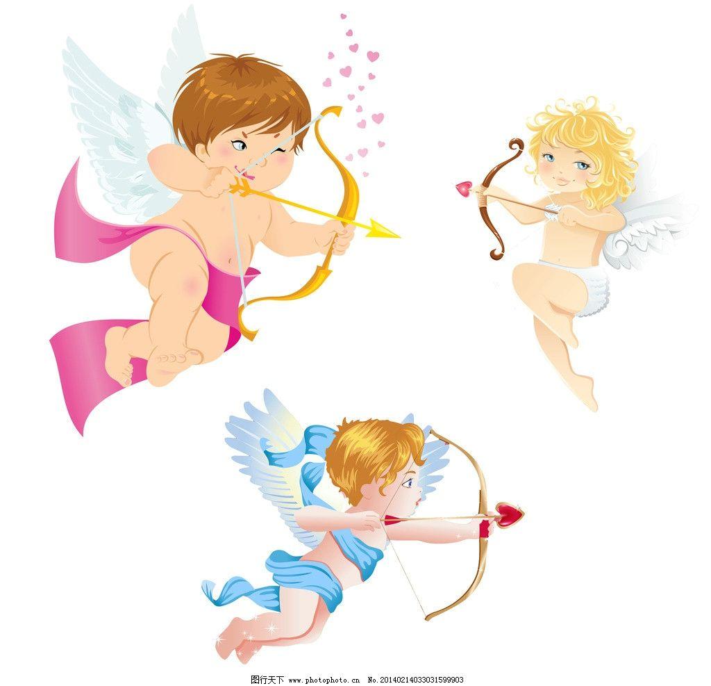 卡通漫画 插画情侣 手绘涂画背景 背景素材 丘比特 带翅膀丘比特 人物