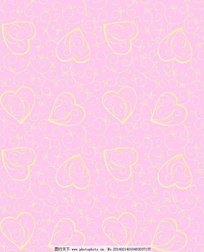 移门图库 y1110 伊甸园 爱心 心 黄色爱心花纹 欧式花纹底纹 粉色背景