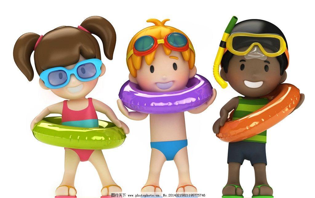 卡通儿童 卡通学生 小学生 游泳