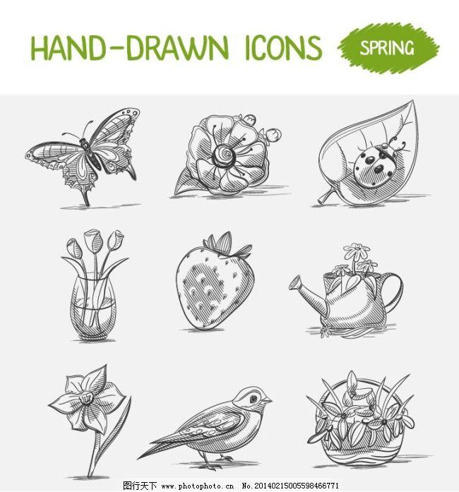 素描动物植物免费下载 动物 水果 素描 线条 植物 素描 线条 动物