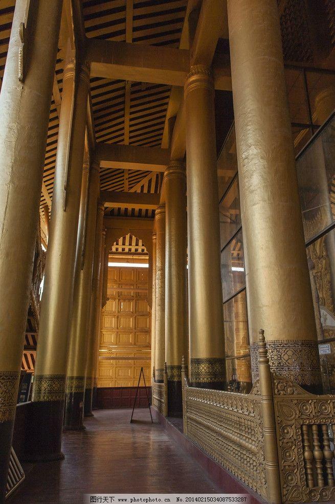金碧辉煌的大殿 缅甸 曼德勒 瓦城 皇宫 宫殿 支柱 金碧辉煌 曼德勒图片