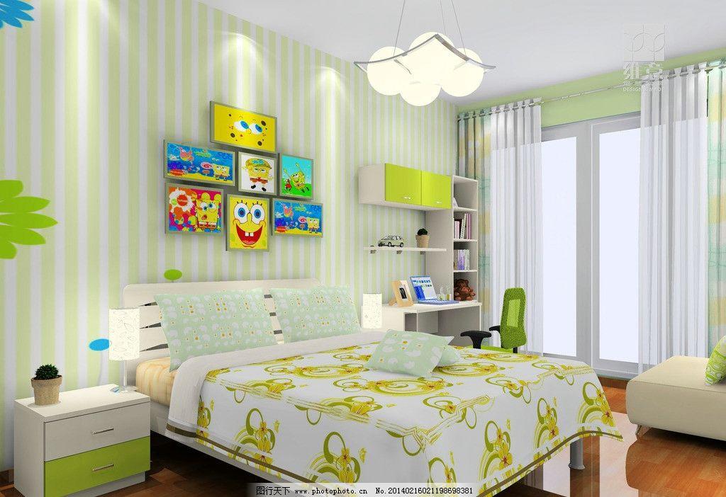 家装设计 衣柜 床 吊柜 写字台 儿童房 地板 3d家装中式效果图精选 3d