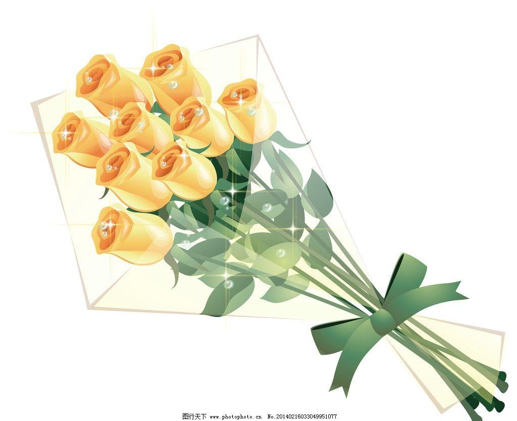 玫瑰花束 玫瑰 黄色玫瑰 手绘玫瑰 玫瑰花纹 透明 花束 精美花纹 玫瑰
