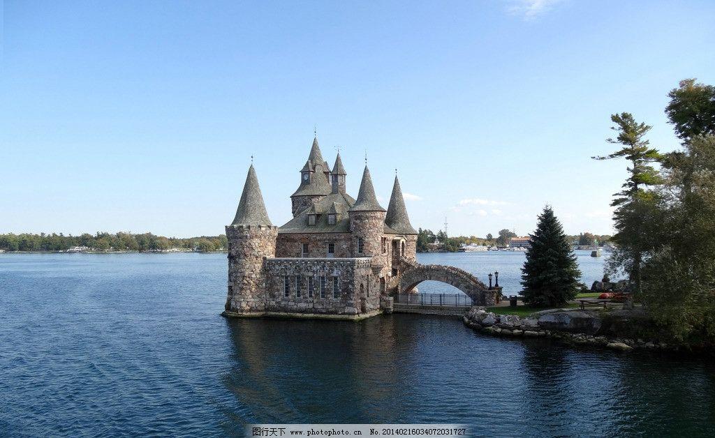 加拿大风光 加拿大 安大略湖 千岛湖 岛屿 古建筑 碧湖 湖畔 国外旅游
