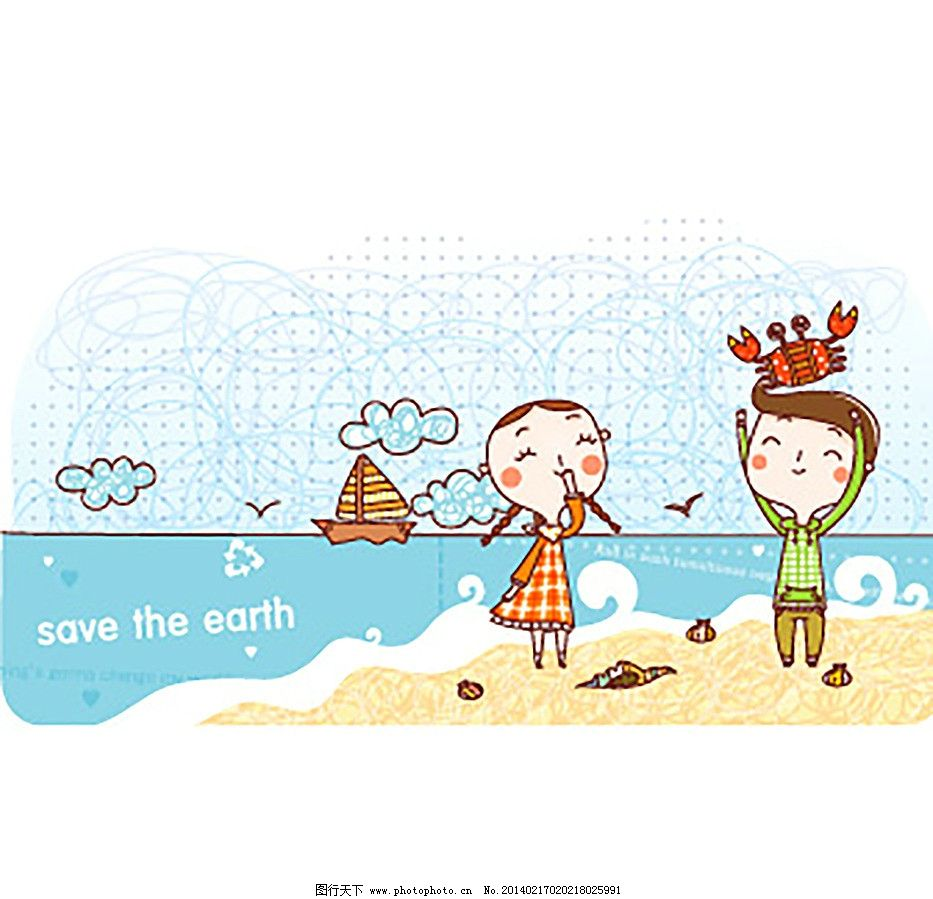 卡通 漫画 海边 小男孩 小女孩 海水 帆船 底纹背景 底纹边框 矢量 ai