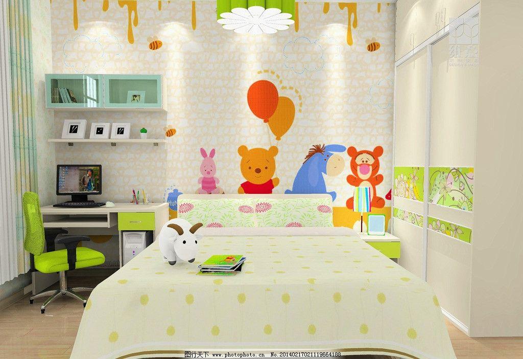 家装设计 儿童房 衣柜 手绘图 床 吊灯 书桌 吊柜 靠椅 效果图
