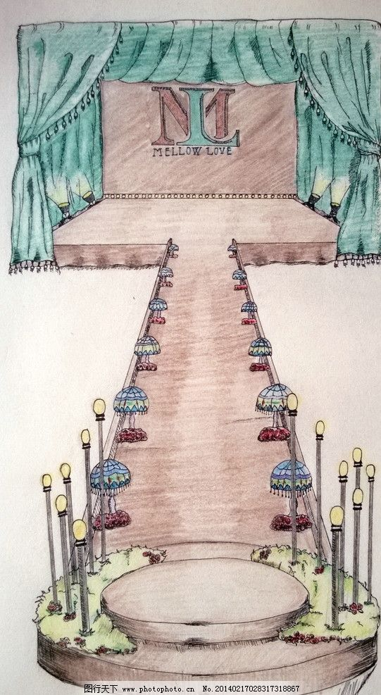 手绘婚礼舞台图片