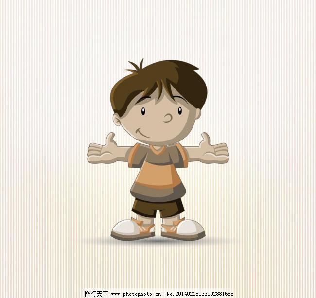 欢迎 张开双手的小男孩 娃 儿童元素 儿童 小孩 人物形象设计 动画