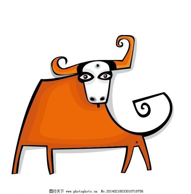 可爱公牛头像简笔画