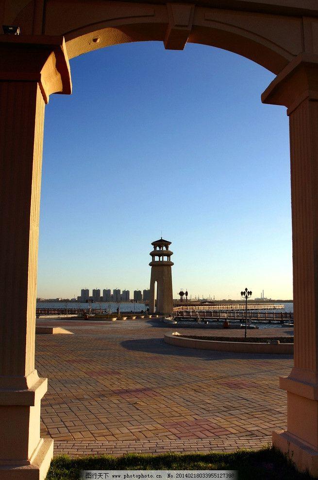秋天 三永湖公园 树 楼房 翰城国际 东城领秀 傍晚 灯塔 了望塔 欧式