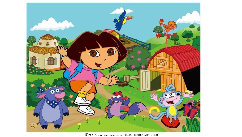 卡通 人物 动物 矢量 迪斯尼 朵拉 牛 猴子 鸟 蓝天 白云 鸡 花 草 树