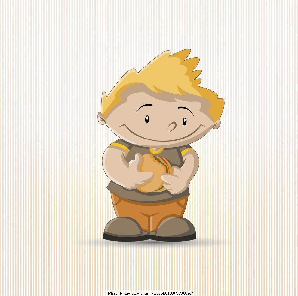 小孩吃汉堡 卡通 可爱卡通 卡通人物 卡通男性 卡通男孩 小孩吃包
