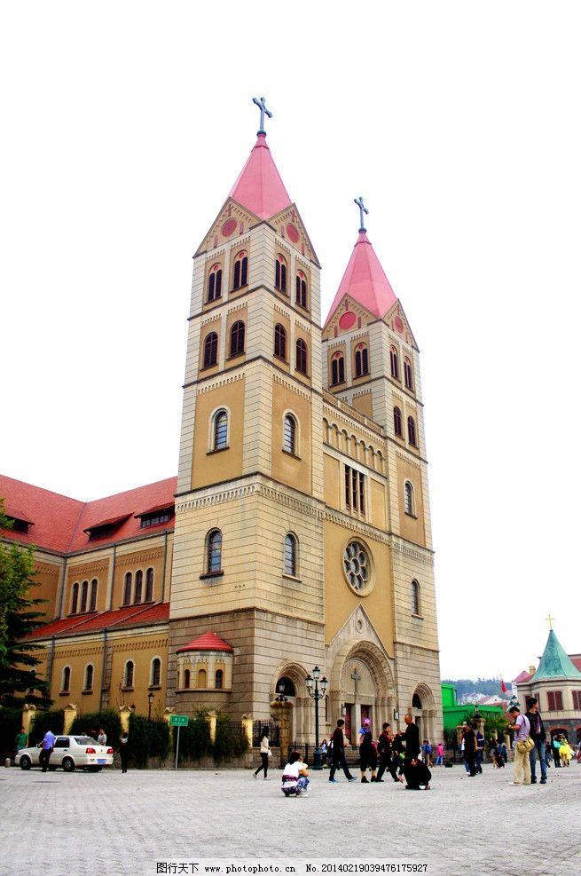 青岛教堂 教堂屋顶 欧洲 欧式建筑 圣米厄尔大教堂 建筑摄影 建筑园林