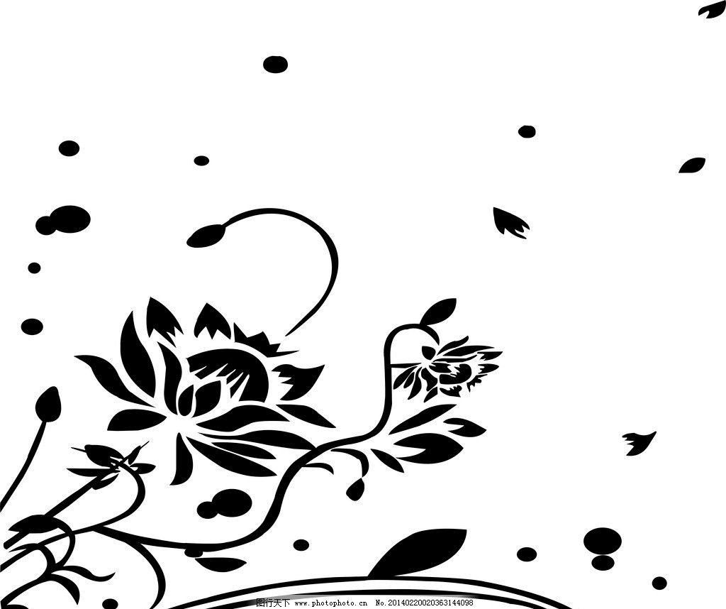 花纹 黑色 白色 荷花 古风 花纹花边 底纹边框 矢量 cdr