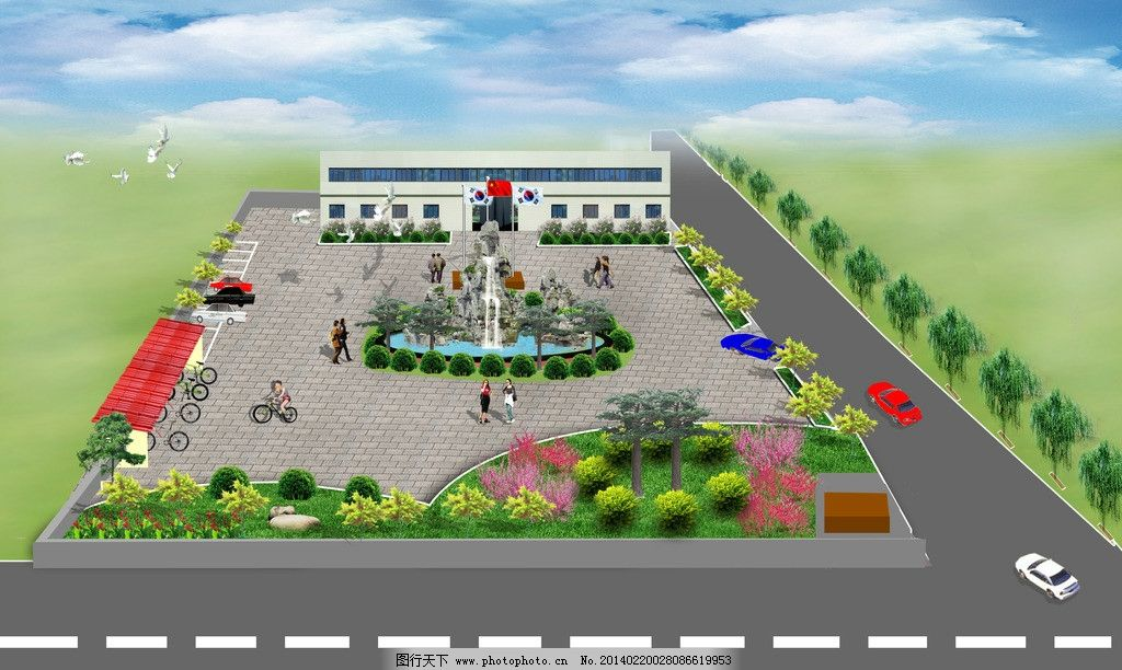 办公楼效果图 厂 厂区效果图        绿化效果图 二层楼房效果图 建筑