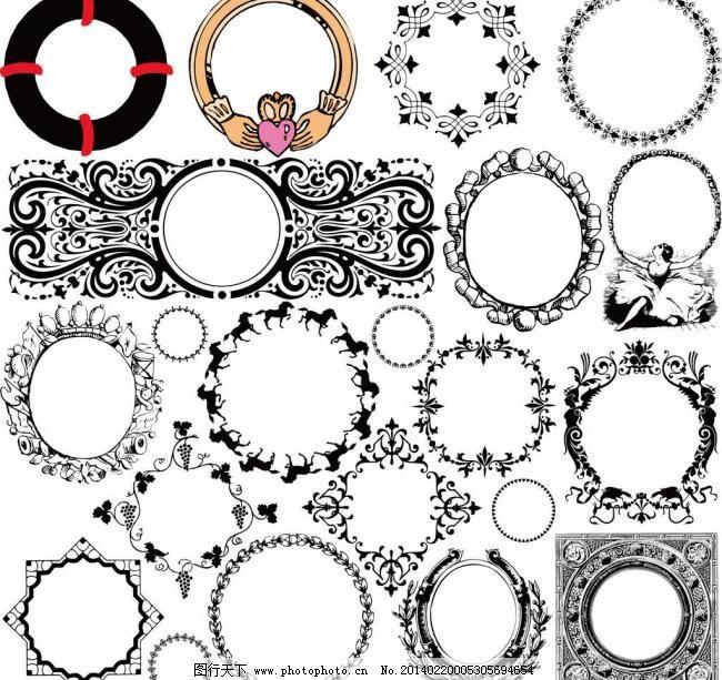 酒标包装圆形花边框环图片