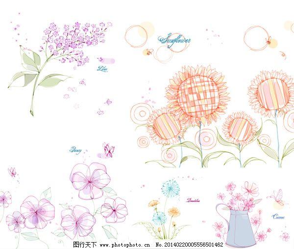 向日葵与蒲公英矢量 花卉 矢量素材 矢量图 手绘花朵 素描 唯美