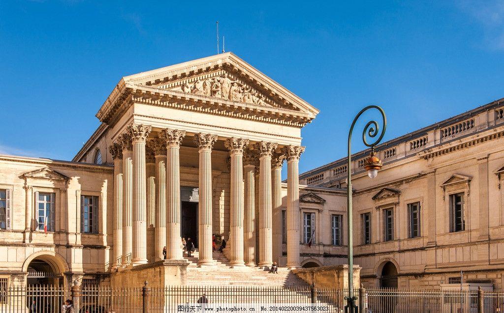 古典建筑 欧洲建筑 建筑物 建筑 欧式建筑 石柱 铁栅栏 路灯 蓝天