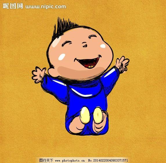 手绘婴儿 手绘小男孩 开心婴儿 婴儿大笑 矢量幼儿 矢量手绘 手绘幼儿
