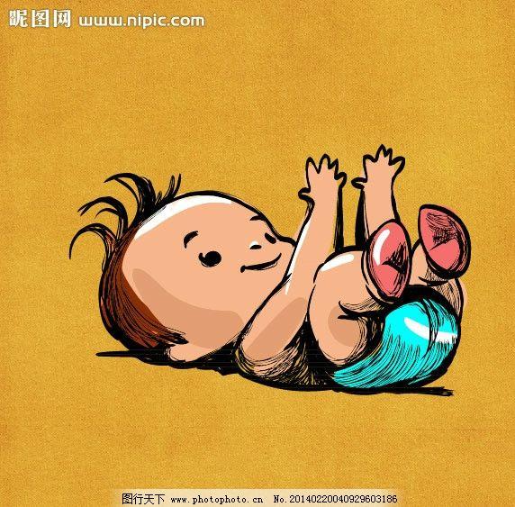 手绘婴儿 手绘小男孩 矢量幼儿