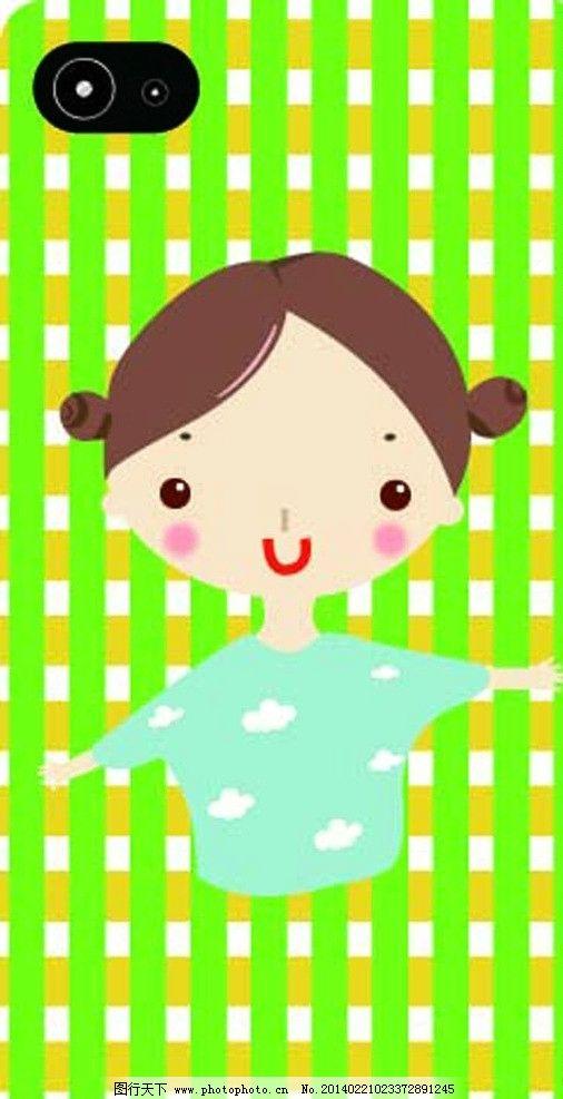 手机壳图案 小女孩 网格背景 手机壳 卡通      明星偶像 矢量人物
