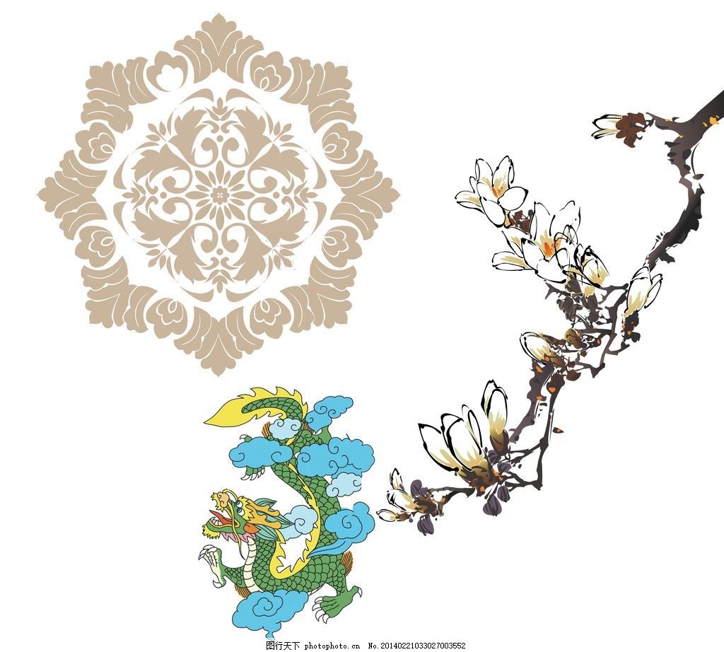 线性花纹 底纹 暗纹 花边 边框 花形花纹 圆形边框 欧式 花朵 花枝