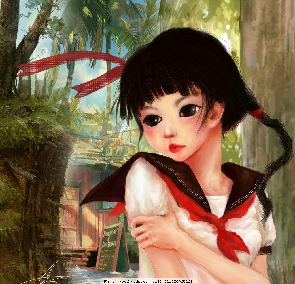 cg画 日本动漫 日漫 电脑手绘 学生 手绘人物 画 色彩 女孩 可爱 忧伤