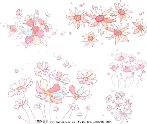 花朵 花卉 玫瑰花 矢量图 手绘 素描 唯美 小花 手绘素描风格花朵植物
